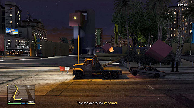 Stop the truck in back to front, or back to back with the car and use the tow hook - Pulling Favors - Strangers and Freaks missions - Grand Theft Auto V Game Guide