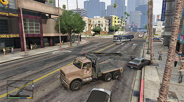 Since the car bumped into a tree, you need to hook its rear - Pulling One Last Favor - Strangers and Freaks missions - Grand Theft Auto V Game Guide