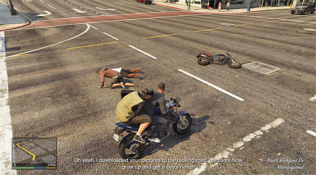 Knocking Madison off requires getting close to his bike. - Paparazzo - Strangers and Freaks missions - Grand Theft Auto V Game Guide