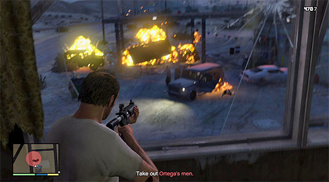 Hitting the gas tank will cause an explosion - 19: Trevor Philips Industries - Main missions - Grand Theft Auto V Game Guide