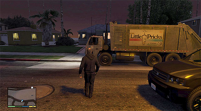 You can either cut the trash trucks way, or wait for it to stop - 38: Trash Truck - Main missions - Grand Theft Auto V Game Guide