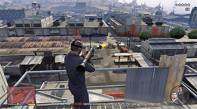 While laying as Trevor it is good to make use, predominantly, of the rocket launcher that is in his equipment - 41: Blitz Play #2 - Main missions - Grand Theft Auto V Game Guide