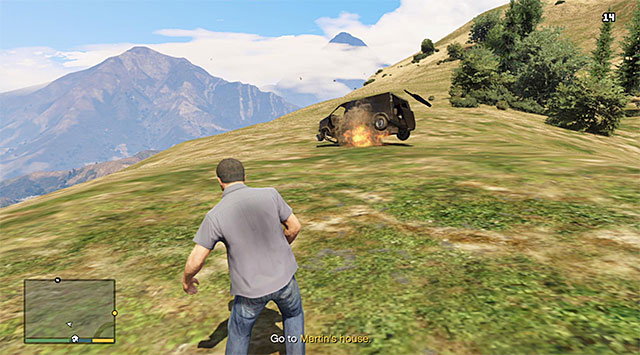 The easiest way is to blow up the van - 47: Caida Libre - Main missions - Grand Theft Auto V Game Guide