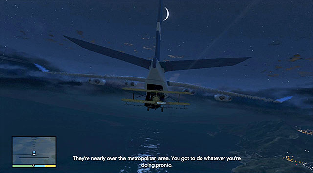 Wait until the moment when you receive a piece of information of the sufficient distance from the military base, at which point you can start going up to come near the cargo plane - 49: Minor Turbulence - Main missions - Grand Theft Auto V Game Guide