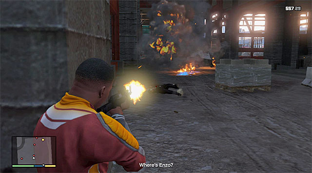 Keep helping yourself with exploding the cars in this area - 50: The Construction Assassination - Main missions - Grand Theft Auto V Game Guide