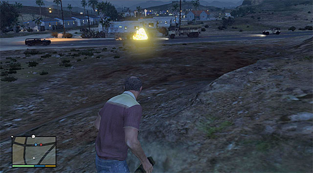 You can detonate the bomb right before the off-road car in the convoy, or blow it up - 52: Military Hardware - Main missions - Grand Theft Auto V Game Guide