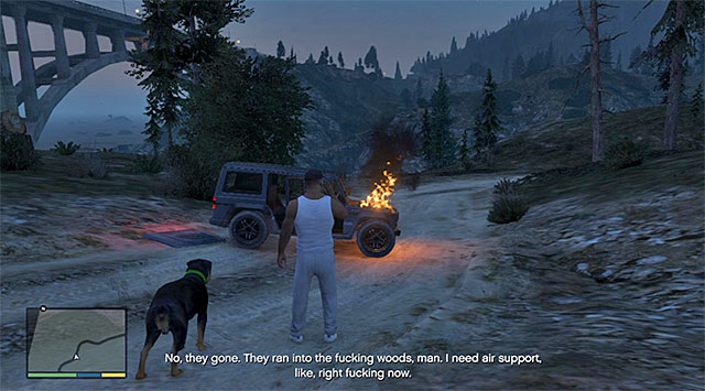 You need to approach the blazing wreck - 53: Predator - Main missions - Grand Theft Auto V Game Guide