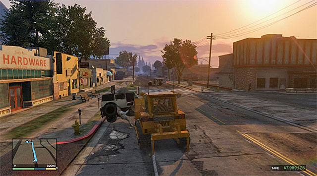 Soon, for the first time throughout this mission, you will cut to Franklin, who stole a bulldozer in the meantime - 54: The Paleto Score - Main missions - Grand Theft Auto V Game Guide
