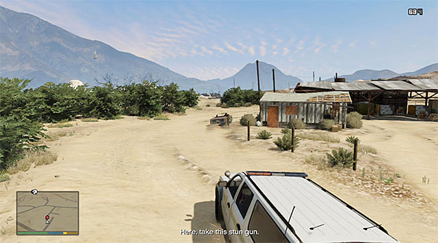 Keep shooting at the escaping vehicle and watch out for the big jumps while driving off-road - The Civil Border Patrol - Strangers and Freaks missions - Grand Theft Auto V Game Guide