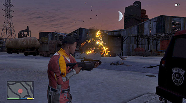 It is a good idea to blow up the enemies cars - Car Scrapyard - Property missions - Grand Theft Auto V Game Guide