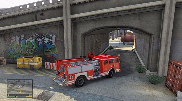 The location to hide the fire truck - 67: Fire Truck - Main missions - Grand Theft Auto V Game Guide