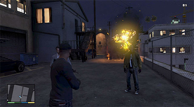 You need to destroy the fire truck - 68: The Bureau Raid - the Fire Crew variant - Main missions - Grand Theft Auto V Game Guide