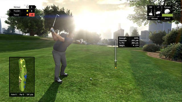 Notice the wind and choose clubs carefully - Golf - Activities, Entertainment - Grand Theft Auto V Game Guide