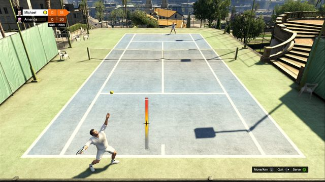 Bar defines the hit strength. - Tennis - Activities, Entertainment - Grand Theft Auto V Game Guide