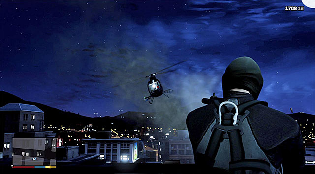 After you reach the external balcony, cut to Michael and use the time-slowing skill to eliminate the pilot of the chopper shown in the above screenshot - 69: The Bureau Raid - the Roof Entry variant - Main missions - Grand Theft Auto V Game Guide