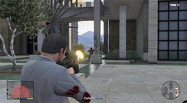Cover Dave, who is hiding near the fountain - 70: The Wrap Up - Main missions - Grand Theft Auto V Game Guide