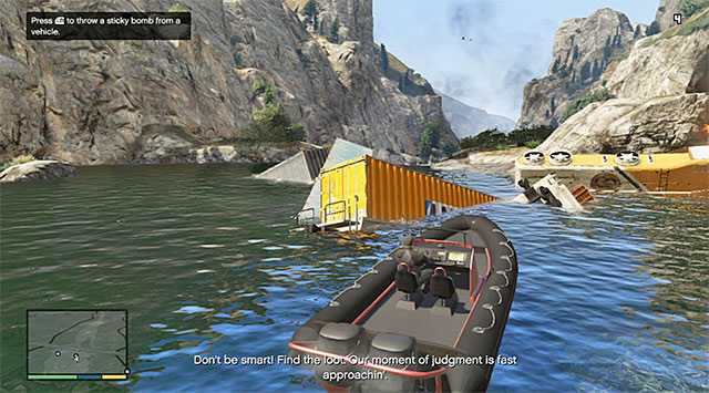 Wait until you cut to Michael and set out, on the boat (Nagasaki Dinghy), towards the more distant of the two bridges that you can see in the distance - 55: Derailed - Main missions - Grand Theft Auto V Game Guide