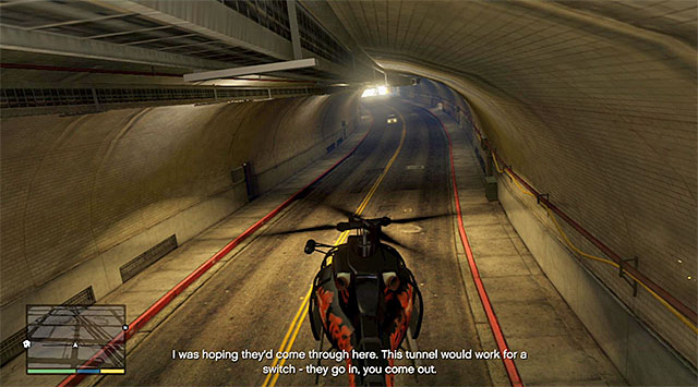 Towards the end of this phase, the vans will drive into a tunnel and, if you are planning on completing this mission in 100%, you need to fly into that tunnel also (the above screenshot) - 58: Surveying the Score - Main missions - Grand Theft Auto V Game Guide
