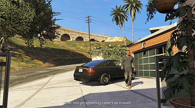 You need to take Franklin back to his villa, or return with Lester to Sandy Shores - 58: Surveying the Score - Main missions - Grand Theft Auto V Game Guide