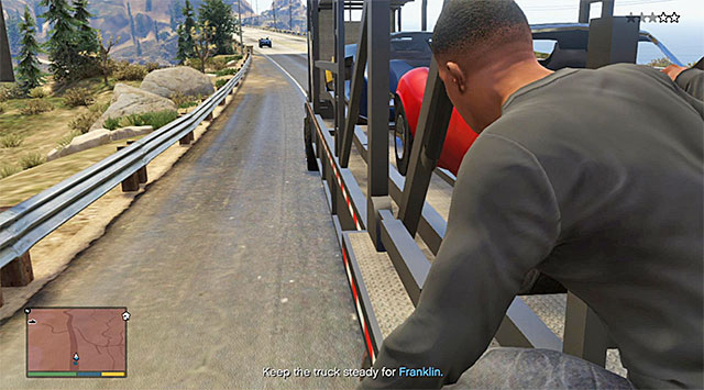 You can switch to the cinematic camera to check out on Franklin - 60: Pack Man - Main missions - Grand Theft Auto V Game Guide