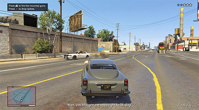 Use the guns to destroy police cars - 60: Pack Man - Main missions - Grand Theft Auto V Game Guide