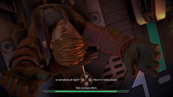 Once the ship is stable, talk to the rest of the team, who are quite disgruntled following the rough landing - An alien planet | Episode 1 - Tangled Up in Blue - Episode 1 - Tangled Up in Blue - Marvels Guardians of the Galaxy: The Telltale Series Game Guide