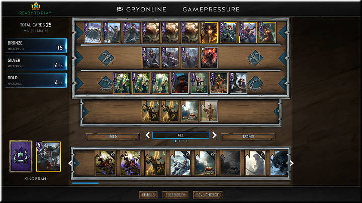 The above deck is composed of 25 cards, 6 of which are Silver, 4 are Gold, and the rest are Bronze - Creating Decks - Card Collection and Creating Decks - Gwent: The Witcher Card Game Guide