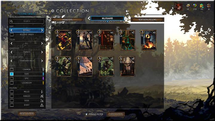 Las tarjetas raras pueden ser reconocidas por el cuadrado azul - Card Rarity |  Tipos de tarjetas - Tipos de tarjetas - Gwent: The Witcher Card Game Guide