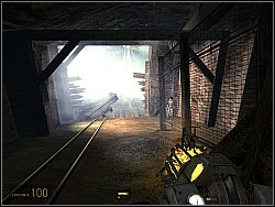 Go down and head up the hill on the right (A), then get behind the fence (B) - To the White Forest p. I - Walkthrough - Half-Life 2: Episode Two - Game Guide and Walkthrough