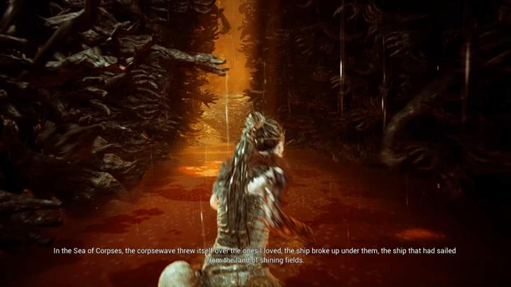 When the fight ends, go along the walls of human arms - Fight with waves of enemies | Land of the dead | Walkthrough - Land of the dead - Hellblade: Senuas Sacrifice Game Guide