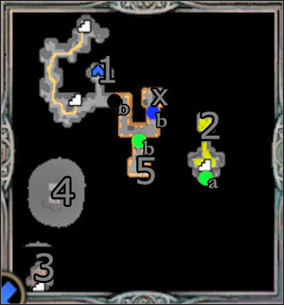 Using the north passage you will find gold mine (1) easily - Campaign 1, Mission 5 - Choice - Campaign 1 - Freyda's Dilema - Heroes of Might and Magic V: Hammers of Fate - Game Guide and Walkthrough