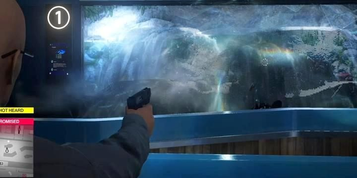 Knock someone out using the water jet from the aquarium. - Challenges - Feats | The Finish Line Mission in Hitman 2 - The Finish Line (Miami) - Hitman 2 Guide