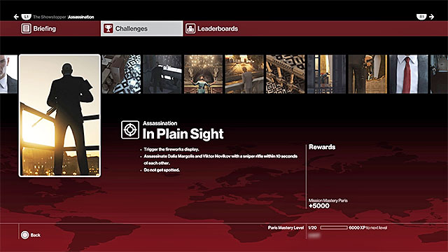 An example challenge - it is worth 5000 points - Mission summaries, challenges, mastery levels | Controls - Game Guide - Hitman Game Guide