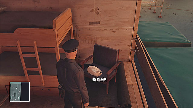 A valuable crew member disguise can be found on the lowest deck of the yacht - Yacht infiltration | Freeform Training - Freeform Training - Hitman Game Guide