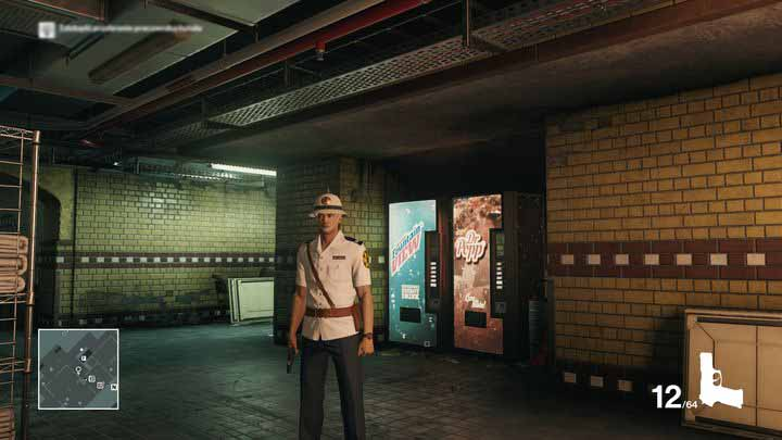 This is where - by the two vending machines - a careless security guard is posted. - Disguises | Bangkok - Bangkok: Club 27 - Hitman Game Guide