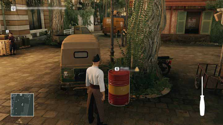 Poke the barrel with a screwdriver when the groundskeeper goes away to get Morgan. - Murdering Ken Morgan | Bangkok - Bangkok: Club 27 - Hitman Game Guide