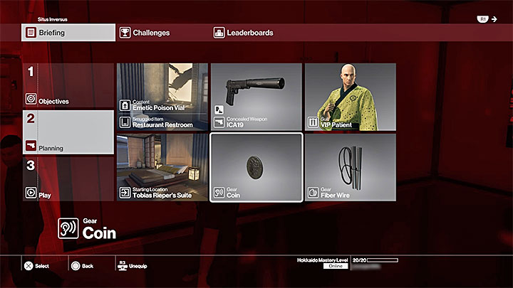 The option to choose your equipment is only available at Hokkaidos Mastery Level 20 - Location map - M8 | Hokkaido - Hokkaido: Situs Inversus - Hitman Game Guide