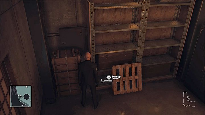 The crowbar is hidden in the lower shelve - Important items | Hokkaido - Hokkaido: Situs Inversus - Hitman Game Guide