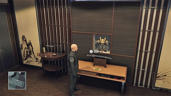 One of the katanas is on a stand in Yukis apartment - Important items | Hokkaido - Hokkaido: Situs Inversus - Hitman Game Guide