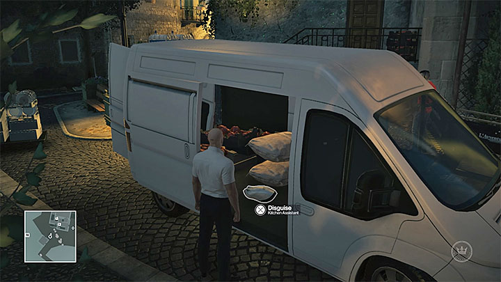 Steal the outfit from the van parked nearby - Disguises and important items | Sapienza: The Icon - Summer Episode - Sapienza: The Icon - Hitman Game Guide
