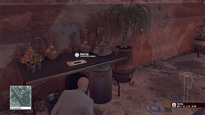 One of the invitation is right next to the entrance to the VIP-only area - Disguises and important items | Marrakesh: A House Built on Sand - Summer Episode - Marrakesh: A House Built on Sand - Hitman Game Guide