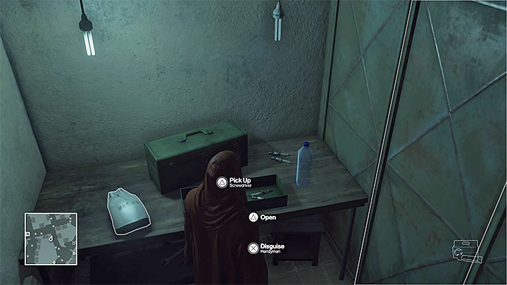 Handyman disguise is in a small utility room - Disguises and important items | Marrakesh: A House Built on Sand - Summer Episode - Marrakesh: A House Built on Sand - Hitman Game Guide