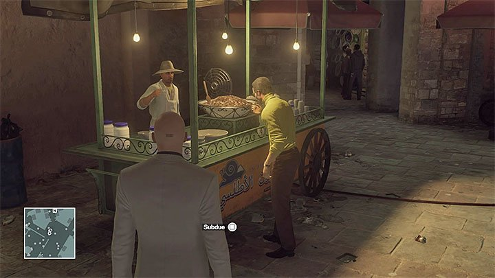 Mendola starts tasting snails on the second time by the stand - Murdering Matthieu Mendola | Marrakesh: A House Built on Sand - Summer Episode - Marrakesh: A House Built on Sand - Hitman Game Guide