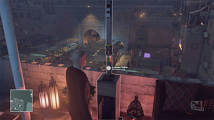 The wrench you need to sabotage the lam is also on the rooftop - Murdering both targets | Marrakesh: A House Built on Sand - Summer Episode - Marrakesh: A House Built on Sand - Hitman Game Guide
