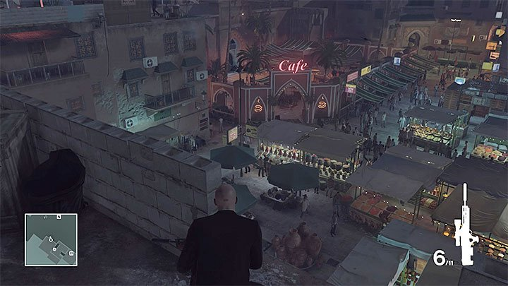 An ideal vantage point is on the rooftop of one of the buildings neighboring the carpet shop (the above screenshot) (M10,16) - Murdering both targets | Marrakesh: A House Built on Sand - Summer Episode - Marrakesh: A House Built on Sand - Hitman Game Guide