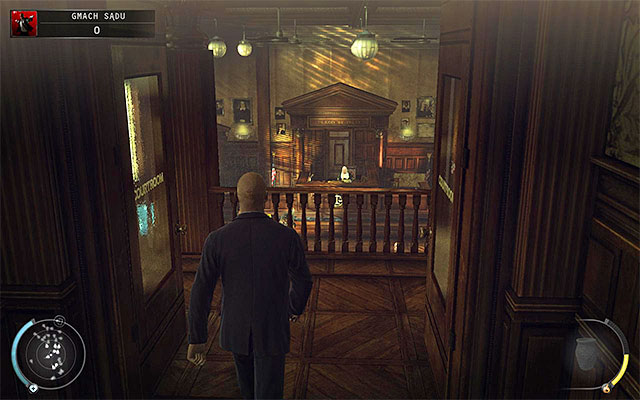 First place, from which you can stop the video, is a balcony on courthouse floor, shown on the above screen - Courthouse - Getting to the holding cells in defendant disguise - 15: Skurkys Law - Hitman: Absolution - Game Guide and Walkthrough