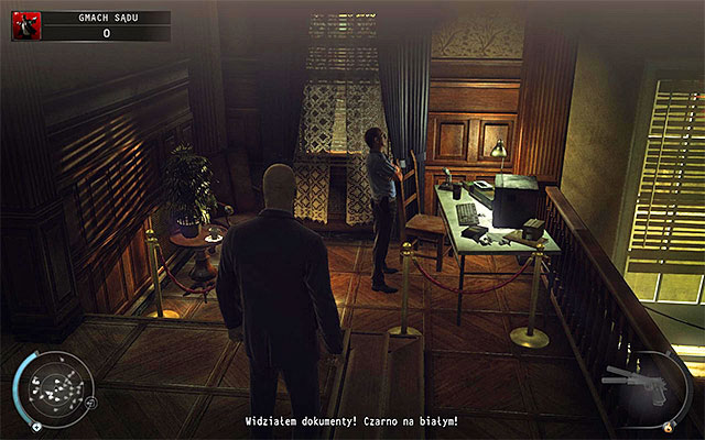 A computer terminal to interact with is located left from the entrance to the balcony - Courthouse - Getting to the holding cells in defendant disguise - 15: Skurkys Law - Hitman: Absolution - Game Guide and Walkthrough