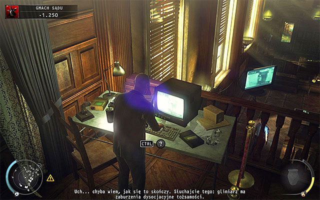 If you have safely got to the computer terminal, interact with it - Courthouse - Getting to the holding cells in defendant disguise - 15: Skurkys Law - Hitman: Absolution - Game Guide and Walkthrough