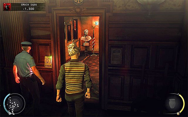 Now you can head to the door leading to the holding cells - Courthouse - Getting to the holding cells in defendant disguise - 15: Skurkys Law - Hitman: Absolution - Game Guide and Walkthrough