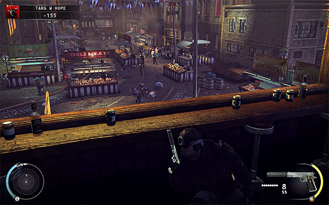 When you run out of sniper rifle ammo, it would be good to return to the place where you've killed the sniper and continue shooting using one of assault rifles - Hope Fair - 16: Operation Sledgehammer - Hitman: Absolution - Game Guide and Walkthrough